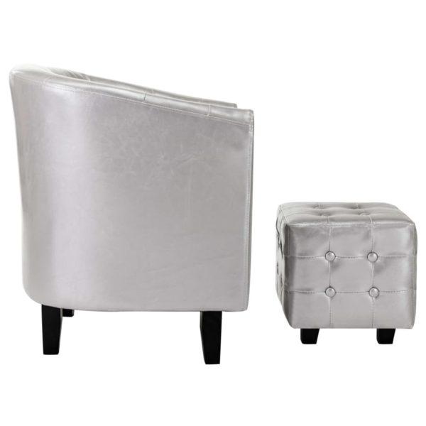 Sessel mit Fußhocker Silbern Kunstleder