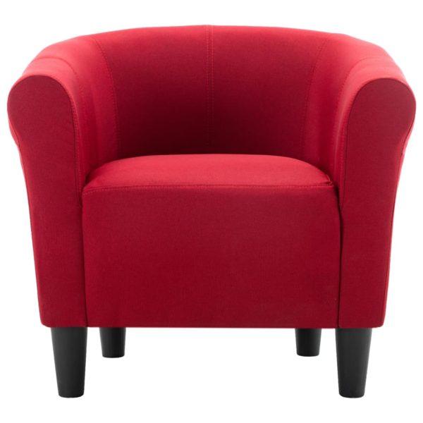2-tlg. Sessel und Hocker Set Weinrot Stoff