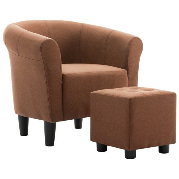 2-tlg. Sessel und Hocker Set Braun Stoff