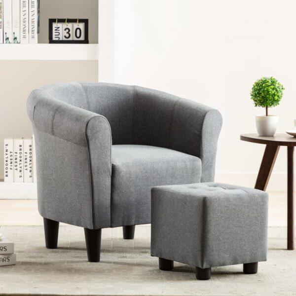2-tlg. Sessel und Hocker Set Hellgrau Stoff