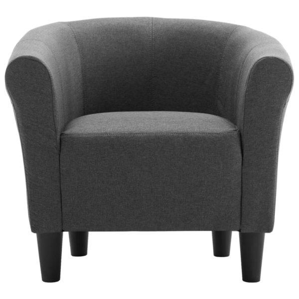 2-tlg. Sessel und Hocker Set Dunkelgrau Stoff