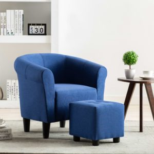 2-tlg. Sessel und Hocker Set Blau Stoff