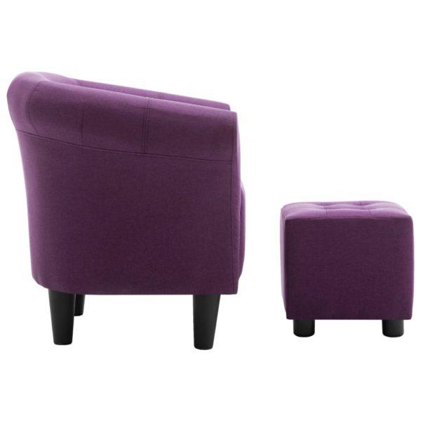 2-tlg. Sessel und Hocker Set Lila Stoff