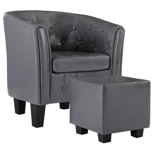 Sessel mit Fußhocker Grau Kunstleder