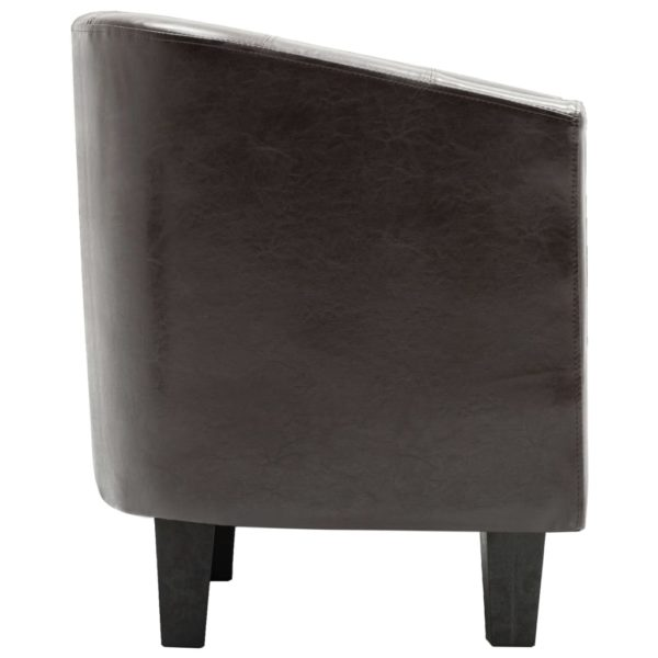 Sessel mit Fußhocker Dunkelbraun Kunstleder