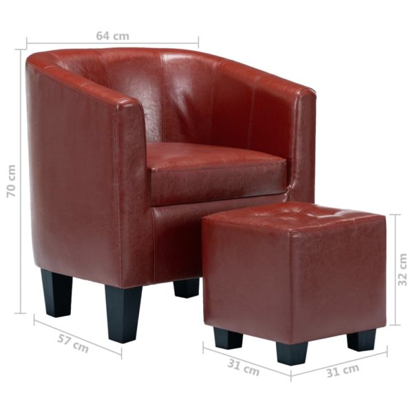 Sessel mit Fußhocker Weinrot Kunstleder