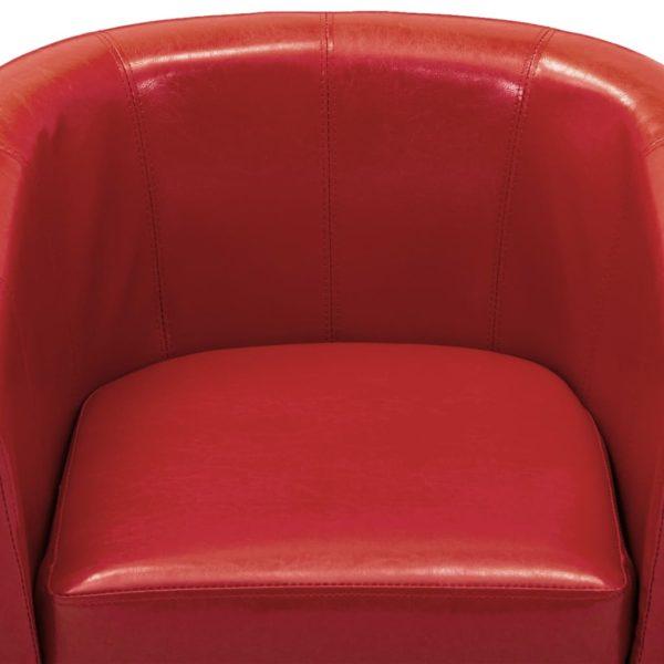 Sessel mit Fußhocker Rot Kunstleder