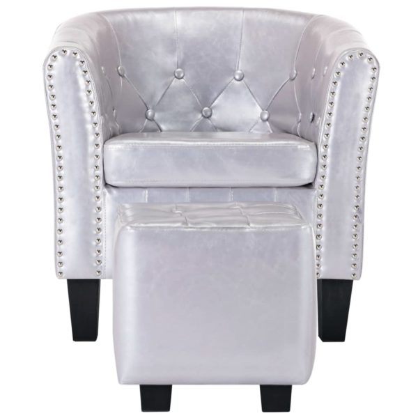 Sessel mit Fußhocker Glänzendes Silbern Kunstleder