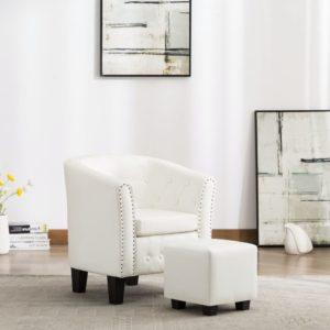 Sessel mit Fußhocker Weiß Kunstleder