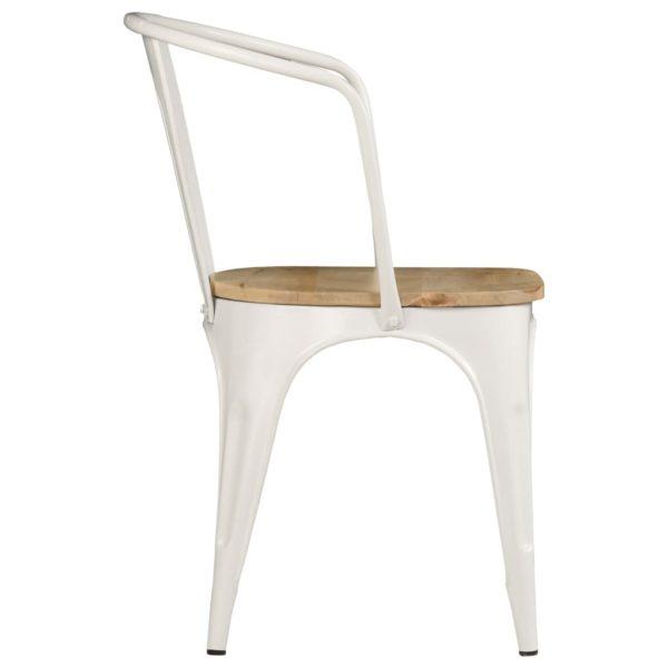 Esszimmerstühle 2 Stk. Weiß Mangoholz Massiv