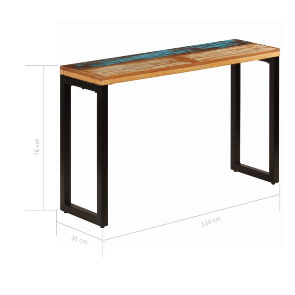 Konsolentisch 120 x 35 x 76 cm Recyceltes Massivholz und Stahl