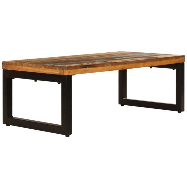 Couchtisch 100 x 50 x 35 cm Recyceltes Massivholz und Stahl