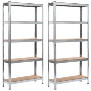 Lagerregale 2 Stk. Silbern 90 x 30 x 180 cm Stahl und MDF