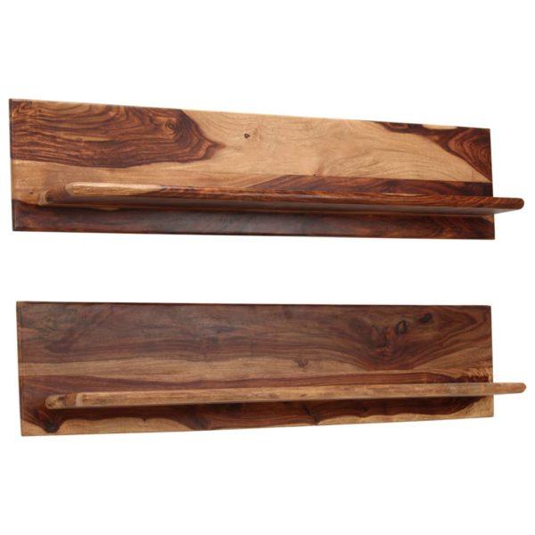 Wandregale 2 Stk. 118 x 26 x 20 cm Massivholz