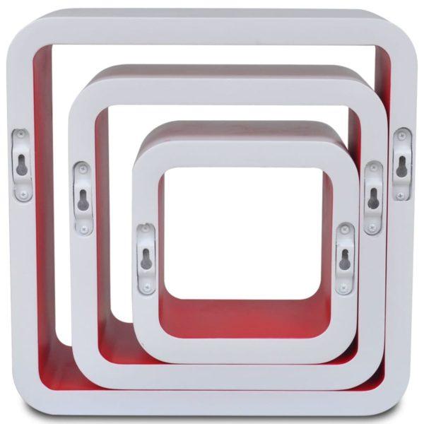 Wandregale Regalwürfel 6 Stk. Weiß und Rot