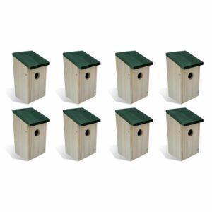Vogelhäuser 8 Stk. Holz 12 x 12 x 22 cm