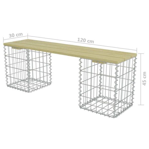 Gabionen-Bank 120 cm Verzinkter Stahl und Kiefernholz