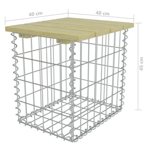 Gartenhocker 40×40×45 cm Verzinkter Stahl Kiefernholz