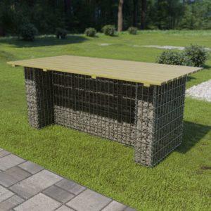 Gartentisch mit Stahlgabione 180 x 90 x 74 cm Kiefernholz