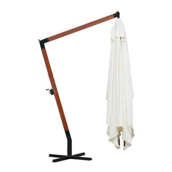 Ampelschirm Holz weiß 4 x 3 m