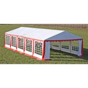 Ersatzdach Dachplane Zeltdach Seitenteile 10 x 5 m Rot&Weiß