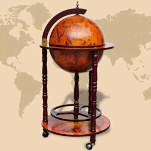 Globus-Bar mit Flaschenregal Eukalyptusholz