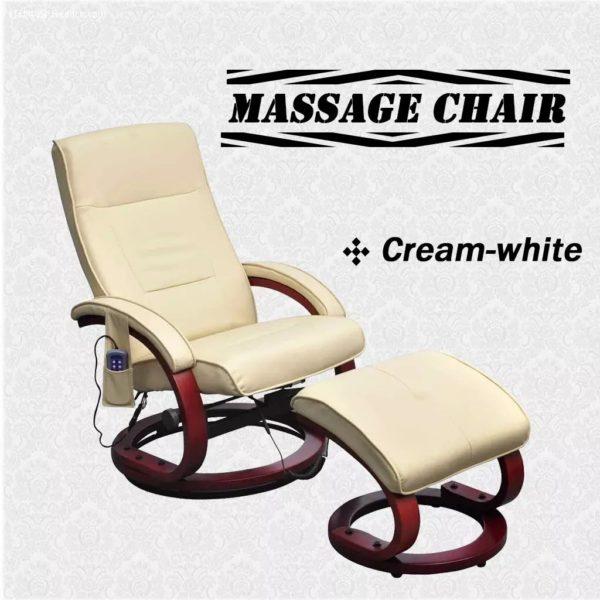 Massagesessel mit Fußhocker Creme Kunstleder