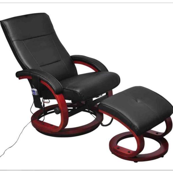 Massagesessel mit Fußhocker Schwarz Kunstleder