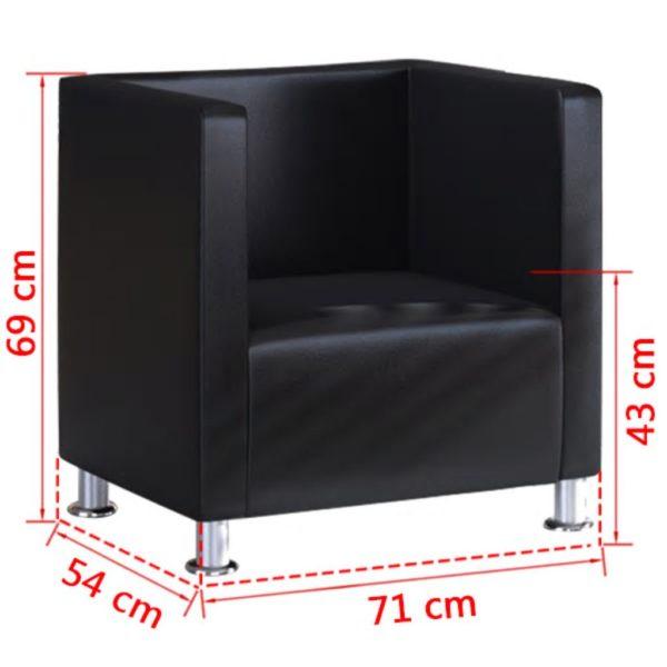 Würfel-Sessel Schwarz Kunstleder
