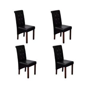 Esszimmerstühle 4 Stk. Schwarz Kunstleder