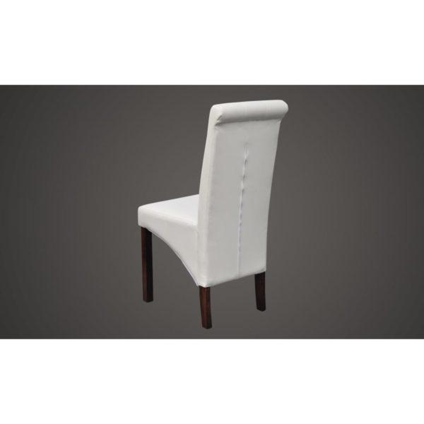 Esszimmerstühle 6 Stk. Weiß Kunstleder