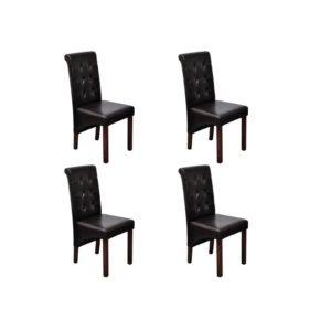 Esszimmerstühle 4 Stk. Braun Kunstleder