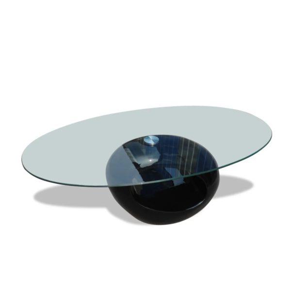 Couchtisch mit ovaler Glasplatte Hochglanz Schwarz