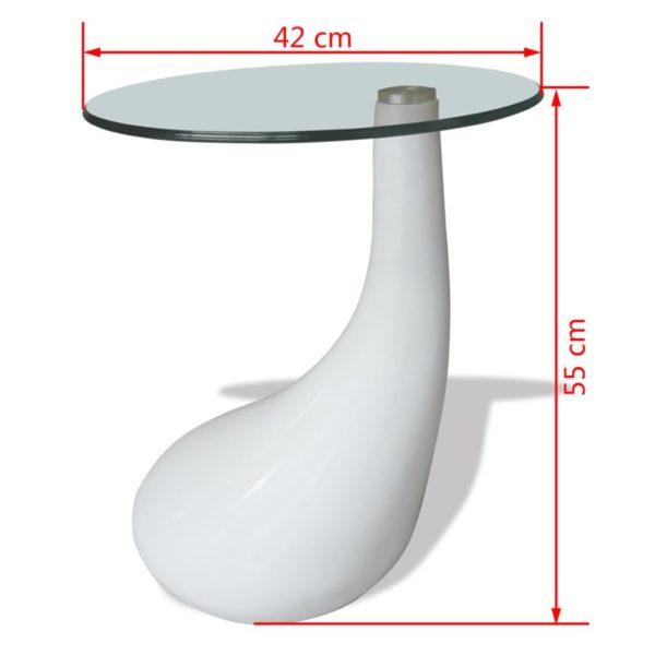 Beistelltisch mit runder Glasplatte Hochglanz Weiß