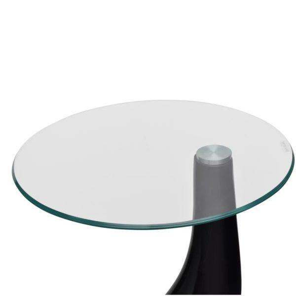 Beistelltische mit runder Glasplatte 2 Stk. Hochglanz Schwarz