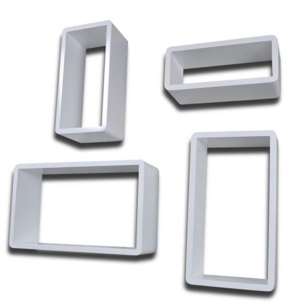 Dekorative Quaderregal Wandregal (4er Set) Weiß