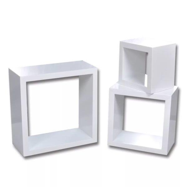 Dekorative Würfelregal Wandregal (3er Set) Weiß