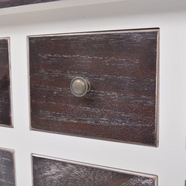 Kommode 6 Schubladen Braun und Weiß Holz