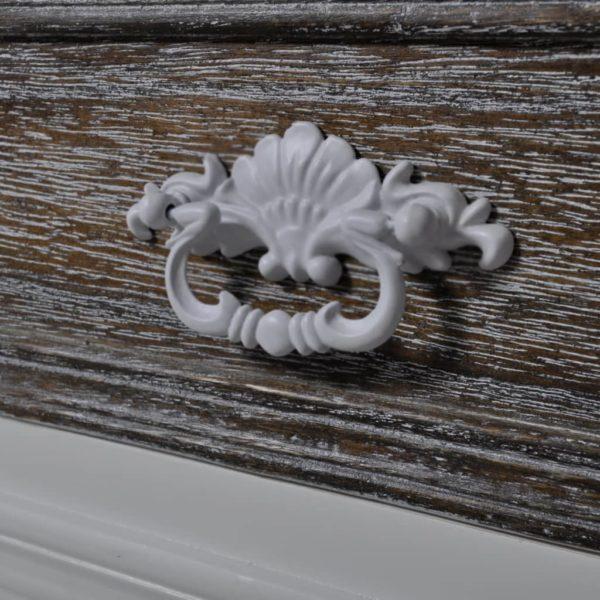 Vitrine mit 2 Türen und 1 Schublade Weiß Holz