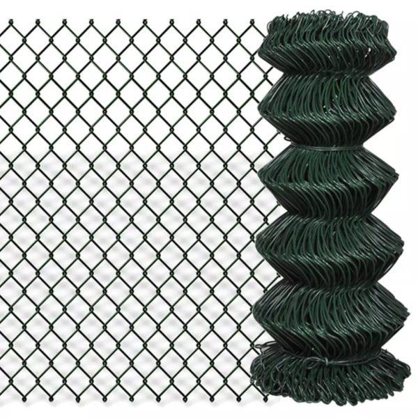 Maschendrahtzaun Verzinkter Stahl 0,8×15 m Grün