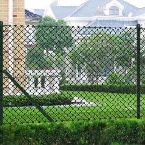 Maschendrahtzaun 1,5 x 25 m grün mit Pfosten & allen Beschlägen