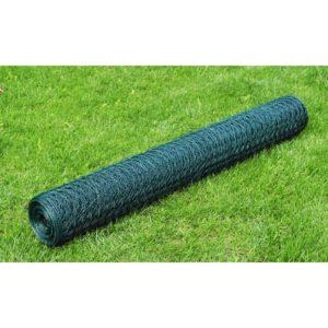 Maschendraht Verzinkt mit PVC-Beschichtung 25×0,5 m Grün