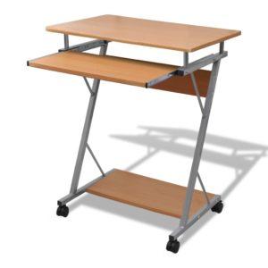 Computertisch Computerwagen PC Tisch Bürotisch Laptop auf Rollen braun