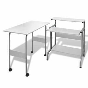 Computertisch Schreibtisch Computerwagen PC Tisch Bürotisch weiß