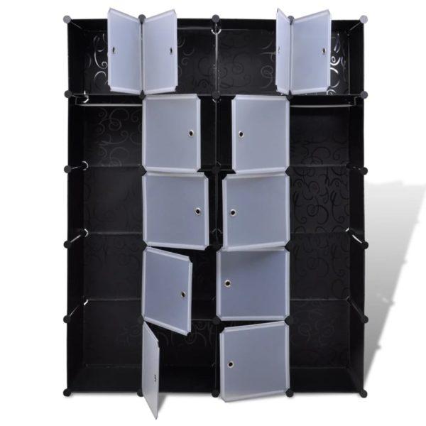 Modularer Schrank mit 14 Fächern schwarz/weiß 37x146x180,5cm