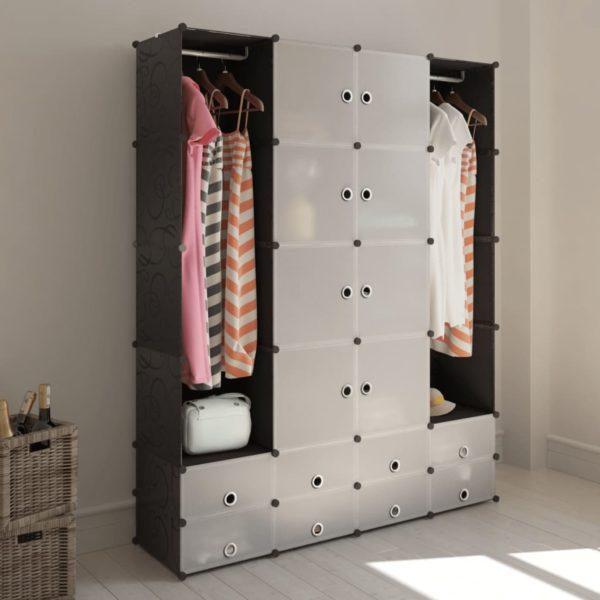 Modularer Schrank mit 18 Fächern schwarz/weiß 37x146x180,5cm
