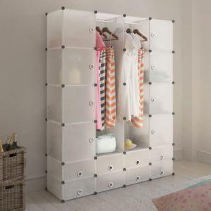 Modularer Schrank mit 18 Fächern weiß 37 x 146 x 180,5 cm