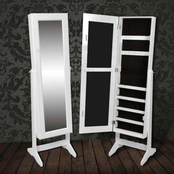 Freistehender Spiegelschmuckschrank Kleiderschrank Weiß