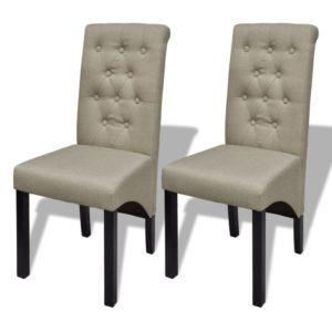 Esszimmerstühle 2 Stk. Beige Stoff
