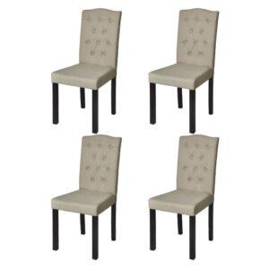 Esszimmerstühle 4 Stk. Beige Stoff